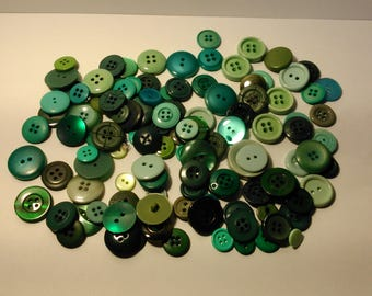 green buttons - sewing - crafting - set 1