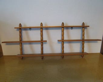 Vintage wood curio shelf with spindles. 25.5 inches long, 9 high, 2 wide. home decor wall shelf great for collectibles, miniatures, figurine
