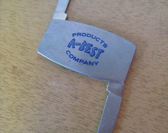 Vintage Zippo pocket knife and file. A-Best Products Company advertising. Vntage pocket knife 2 x 1 inches folded.