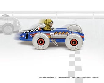 Marx Mechanical Speed Racers, Set of 9, Colorfully Restyled, 8 x 10 Art Prints