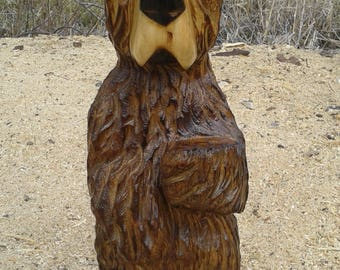 Brown Bear Cub, Bear Cub, Wood Carving, Chainsaw Carving, Rustic Art Sculpture, Home Decor, Wooden Statue, Original, Handmade, White Pine