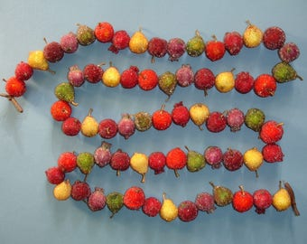 Vintage Sugared Miniature Fruit Garland for Christmas Tree or Fall Harvest decor - 5 foot