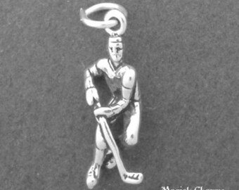 HOCKEY Player Charm .925 Sterling Silver Pendant - lp1391