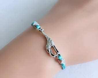 Giraffe Bracelet, Blue Turquoise Cord Bracelet, Friendship Bracelet, Animal Bracelet, 18 Colors Available