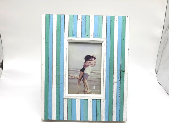 Wooden photo frame in shades of blue and white, rustic, beachy, shabby chic, can be sat on surface or hung on wall, 9 x 11 ins, 23 x 28 cm