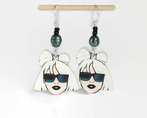 Girl's face earrings, long dangle earrings, girl with sunglasses, green freshwater pearls, sterling silver earwires, 2.5 ins / 6.5 cm long