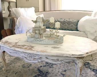 Painted White Coffee Table, French Provincial, Chippy Distressed, Oval  Living Room Table,