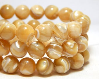 8mm Mother of Pearl Beads, MOP Beads, Mother of Pearl, Shell Beads, Beach Beads, Ocean Beads, Beige Beads, Tan Beads, Off White Beads, B-39C