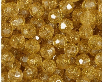 BeadTin Gold Sparkle 10mm Faceted Round Plastic Craft Beads (210pcs)