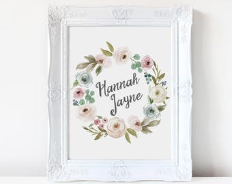 PERSONALIZED Boho Floral Wreath Watercolor Print Design Vintage Baby Girl Nursery Rustic Romance Fairytale Storybook Sweet Girly Natural