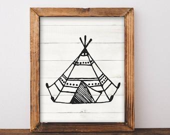 Rustic Tribal Deer Arrow Tipi Teepee Boys Room Prints Nordic Hygge Scandinavian Natural Minimal Monochrome