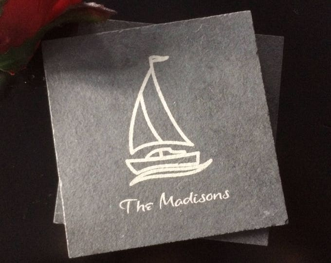 Personalized Slate Coasters - Real Estate Closing Gift, Sailing Gift, Boating Gift