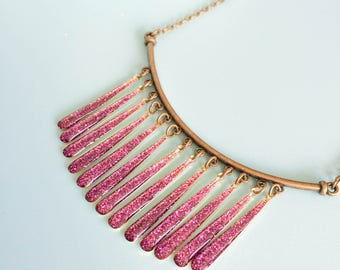 """Necklace """"Aalana"""" bronze color and glitter epoxy charm"""