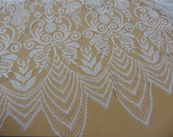 """Chantilly Lace Fabric ,off  White floral Lace fabric  for wedding 59"""" width,wave lace fabric"""