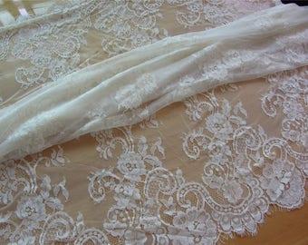 Chantilly Lace fabric,rose lace fabric, ivory eyelash lace-1.45m*1.45m