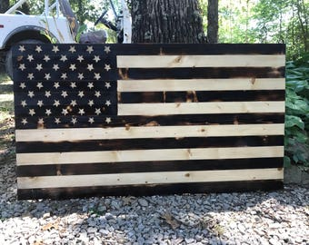 """Burnt Wood Rustic American Flag with carved stars..  20""""X35.75"""""""
