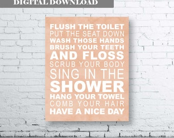 Family Rules Wall Art Print-Instant Download-Bathroom Art Prints.Bathroom Rules Decor.Bath Art.Wash Brush Flush. Taupe Bathroom. Taupe Quote
