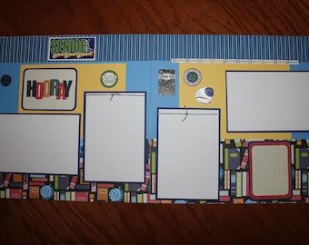 12 x 12 school scrapbook layout premade titled Senior,graduation, 12th grade, 2 page school scrapbook layout, school scrapbook pages