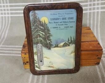 Vintage Framed Advertising Thermometer-Leonard's Shoe Store. Everett Mass.