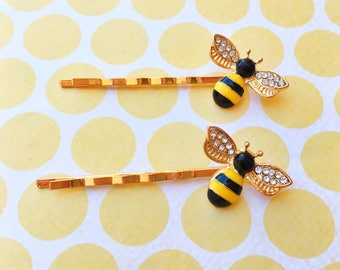 "Fun in the Sun ""Honey Bee"" Bee Yellow and Black Enamel Hair Pins Gold Bobby Pins"