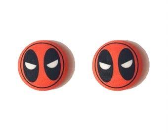 "Superhero Collection ""DeadPool"" Deadpool Inspired Fabric Button Earrings"
