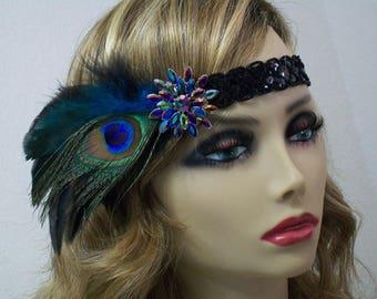 Black 1920s headband, Gatsby headband, 1920s headpiece, Flapper headband, 1920s hair accessory, Peacock Feather, Vintage inspired