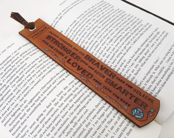 Personalized Tan Leather Bookmark  Custom Name - Christmas Present Gift - Birthday Gift - Anniversary - Christmas Custom Leather Gift