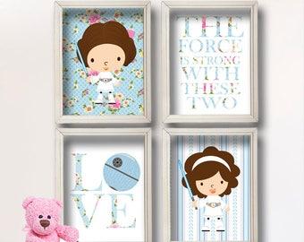 Baby Girl Star Wars Nursery Art- Girl Room Decor Shabby Chic - Star Wars Decor - Baby Shower Gift - Nursery Girl   GR-130 Sisters
