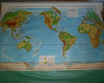 1948-49 Special Rand McNally Physical Political World Map 63 in x 38 in classic old school  pull down map, unique & funky teacher gift