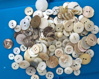 Mother of Pearl Buttons 1 lb Shell Buttons By the Pound Off White Buttons Ivory Buttons Assorted Buttons 4 hole buttons 2 hole buttons
