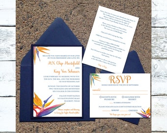 Birds of Paradise Wedding Invitation, Floral Invitation, Destination Wedding