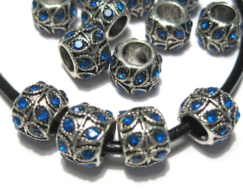 5pcs Antique Silver Large Hole European Rondelle Spacer Beads With Blue Rhinestones