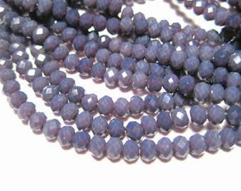 1 Strand Dark Purple Faceted Rondelle Glass Beads 4x3mm ( No.11)