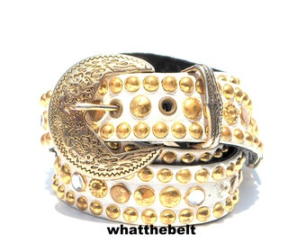 Vintage Belt White Leather Gold Studded Southwestern Jeweled Western Belt Medium A23