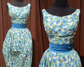Blue Floral Print Jonny Herbert Original Summer Dress Bubble Skirt Fitted Bodice Bow in Back Garden Party Dress Sz Small