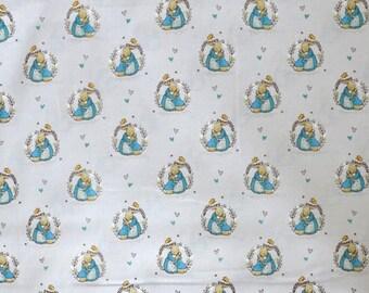 Fabric - Peter rabbit - pale grey cuddle - cotton print.