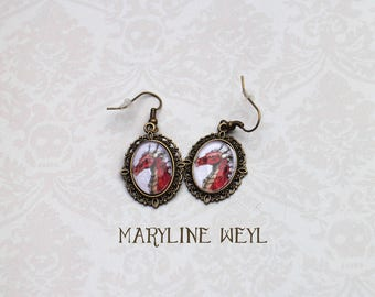 red dragon Cabochon earrings
