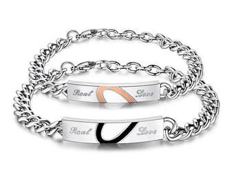 Our Love Is Real - Couples Bracelets / His and Hers Bracelets / Engraved Bracelets for Her / Custom Engraved / Matching Jewelry for Couples