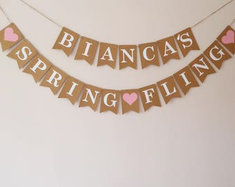 Spring fling wedding bunting personalised, Bridal shower, Hen party decoration