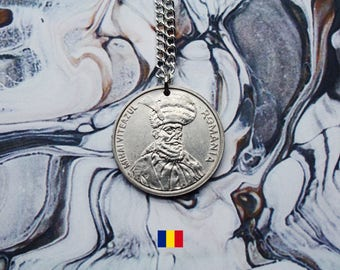 Romanian 100 Lei Handmade Silver Coin Necklace - Silver Plated Chain.