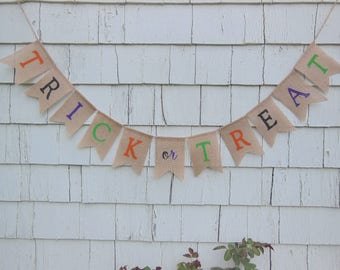 Halloween Decorations, Trick or Treat Banner, Halloween Banner, Happy Halloween, Halloween Burlap Banner, Halloween Bunting, Fall Decor