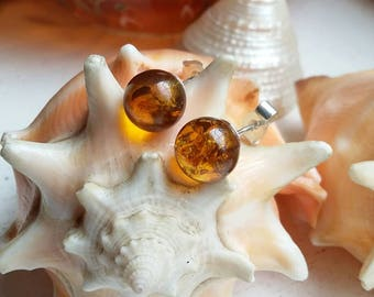 Sterling Silver Amber Ball Post Stud Earrings