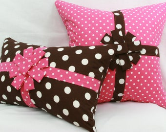 pink and brown polka dot decorative pillow cover with bow. 20 x 20 pillow cover.