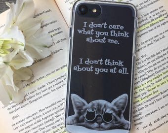 Don't Care What You Think iPhone Case, Your choice of Soft Plastic (TPU) or Wood