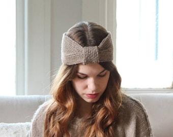 Chunky Charcoal Knit Headband   Cozy Ribbed Ear Warmer   Warm Winter Turban [Frankie Headband]