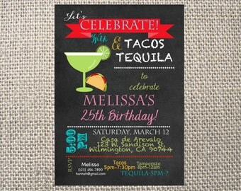 PRINTED or DIGITAL |  Fiesta Tacos and Tequila | Birthday Party Invitation | Invites | Mexican | Margaritas | Custom Invitations .82 each