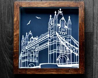 London Bridge papercut - Original, Handmade, Illustrated Craft Paper Art - ideal gift