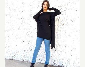 SALE 20% OFF Black Top / Plus Size Loose Tunic / Maternity Top / Tunic Dress / Long Sleeved Top / Black Tunic TT04