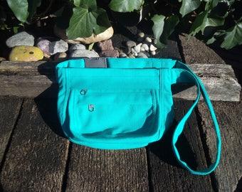 Turquoise canvas fanny pack,hip bag,belt bag