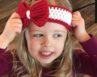 Girls Big Bow Headband, Ear Warmer